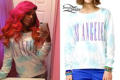 Bahja Rodriguez just dyed her hair hot pink again. She posted a new instagram photo wearing a Forever 21 Los Angeles Pullover ($11.99).
