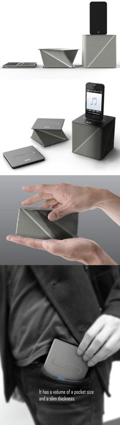 This is cool because I think the design is simple. Also this one is very small so you can fold it up and put it in your pocket so it is very convenient. It could be folded up and it could also stand up and put the media player on top! This design could be used in any environment because it is simple and has one color, the color is black so it matches everything.