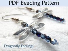 Dragonfly Earrings Beading Pattern, PDF Tutorial, Beaded Dragonflies, Bead Patterns, Dragonfly Jewelry, Beading Tutorials, Instructions. $6.00, via Etsy.