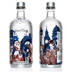 Designer Jamie Hewlett has used his chance of being features on a Absolut bottle by creating a special London theme. The bottle which reminded me of Oliver Twist's London is basically supposed to showcase the style of the past 200 years of history of London. This means famous buildings such as St. Paul's Cathedral make for the backdrop while seven different characters grace the front.