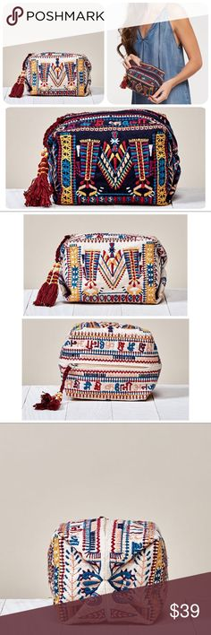 Love Stitch Boho Goa Makeup Bag Intricately embroidered, compact, pinched cube makeup bag features a zippered closure and beaded tassel detail.  Self: 100% Cotton, Lining: 100% Polyester  Size: W: 8in x H: 3.5in  Style: DR-2115 Made in India-  🌻Price Firm🌻 Love Stitch Bags Cosmetic Bags & Cases