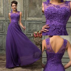 2-24 Formal Long Lace Applique Beaded Wedding Ball Gown Evening Prom Party Dress