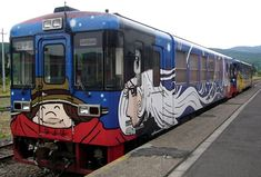 "Characters from Leiji Matsumoto's ""Galaxy Express 999"" anime/manga adorn this train that used to run on the Furusato-Ginga line in Hokkaido. The train line closed down in 2006."