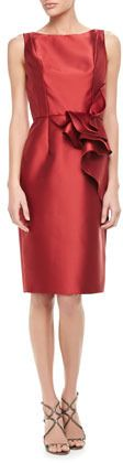 Carmen Marc Valvo Sleeveless Ruffle-Waist Cocktail Dress, Red