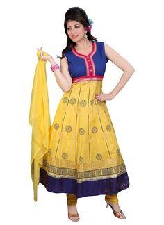 Shop Online Yellow Blue Cotton #AnarkaliSuit @Chennaistore.com