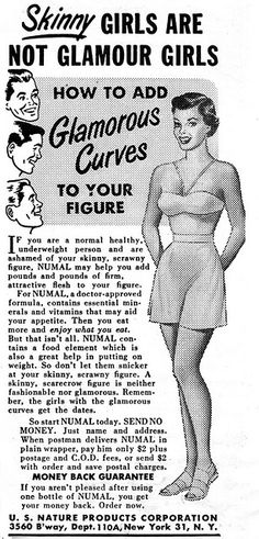 Ad for gaining weight. Skinny girls are not glamour girls. Enlarge: pinterest.com/pin/287386019943128181