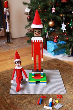 34 of the Most Creative Elf on the Shelf Ideas via Brit + Co. - Buddy The Elf Noel Christmas, Christmas Elf, All Things Christmas, Christmas Crafts, Christmas Ideas, Der Elf, Lego Decorations, Elf Auf Dem Regal, Awesome Elf On The Shelf Ideas