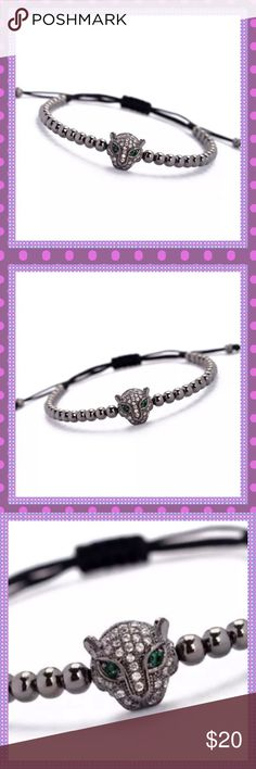 🖤AWESOME Leopard Head Macrame Bracelet🖤 🖤GORGEOUS & AWESOME UNISEX (Worn by women & men)4mm Gun Metal Black Beads & Cubic Zirconia Leopard Head with GORGEOUS GREEN CRYSTAL EYES Macrame Bracelet! Adjustable to fit any size wrist! Looks amazing worn alone or stack with other arm candy🖤PRICE IS FIRM🖤 Boutique Jewelry Bracelets