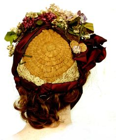 the back view of a Victorian Straw bonnet, decorated with period millinery flowers, lace and silk ribbon, from the HUVC collection Victorian Hats, Victorian Women, Vintage Outfits, Vintage Hats, Vintage Clothing, Who Will Buy, Silk Ribbon, Costumes For Women, Floral Wreath