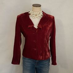 Velvety red jacket - Ruffled neck Who doesn't want this in their closet for the holidays. Cool jacket. Goes great with both jeans and a skirt. Dress it up with chunky pearls or your favorite necklace. A must have for the holidays days. Great price. Buy it now. barrier pace Jackets & Coats
