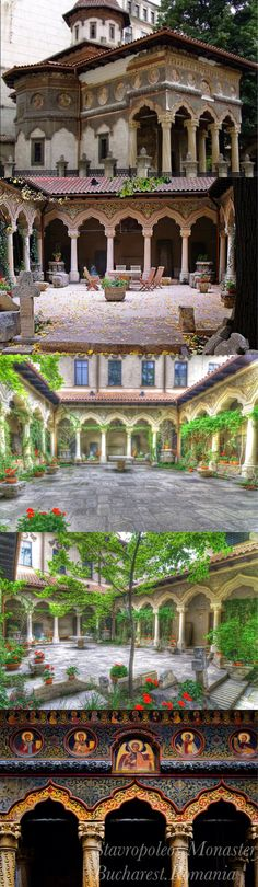 "Stavropoleos Monastery, Bucharest, Romania  is an Eastern Orthodox monastery for nuns in central Bucharest, Romania. Its church is built in Brâncovenesc style. The patrons of the church (the saints to whom the church is dedicated) are St. Archangels Michael and Gabriel. The name Stavropoleos is a Romanian rendition of a Greek word, Stauropolis, meaning ""The city of the Cross"