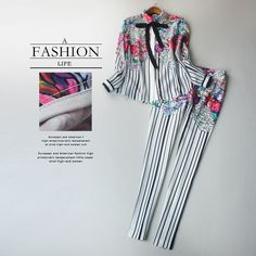 Cheap pants set, Buy Quality 2 piece pants sets directly from China twin set Suppliers: Women Summer Spring Fashion XXL Runway Casual 2 Pieces Pants Set Blouse+Trousers Unique Floral Striped Printed Slim Twin Set Porcelain Print, Fashion Brand, Womens Fashion, Dress Brands, Suits For Women, Casual Pants, Blouse, Spring Fashion, Trousers