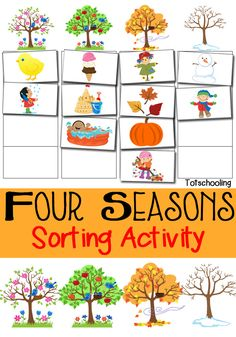 Four Seasons Sorting Activity Free Printable is part of children Clothes Free Printable - FREE printable sorting activity featuring the Four Seasons Great for preschoolers to do in the Spring, Summer, Fall, or Winter! Preschool Weather, Free Preschool, Preschool Lessons, Preschool Learning, Toddler Preschool, Preschool Education, Free Printables For Preschool, Learning Activities, Math Sorting Activities