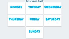 Days of week in English (Lists and Images Examples) · Suvemy