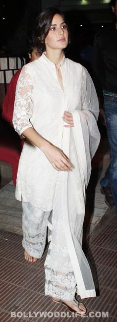 So when we spotted Katrina Kaif recently wearing a chic salwar kameez we were mesmerised by the sheer minimalism on display. The pristine white outfit, the intricate chikan embroidery work and the effortlessness with which Kat carries herself spells unbeatable sophistication.