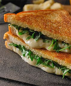 Modern Mom's Grilled Cheese!  Oooey gooey cheese with arugula!  Two of my most favorites! - Cobblestone Bread Co.