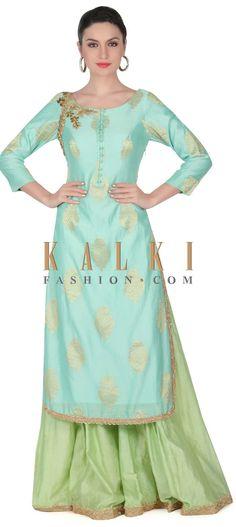 Buy this Turq straight suit embellished in zardosi butti only on Kalki