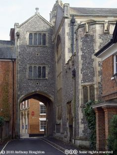 The Gateway to the medieval Romsey Abbey, Hampshire, England