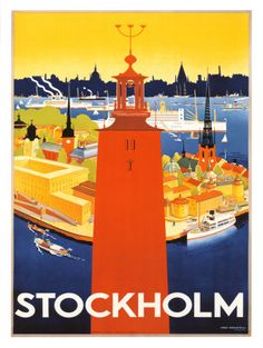 Beautiful retro print of Stockholm with the tower of City Hall in the foreground, and Stockholm's Old Town in the background.