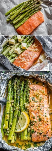 Salmon and Asparagus Foil Packs with Garlic Lemon Butter Sauce - - Whip up something quick and delicious tonight! - by dinner recipes baked Salmon and Asparagus Foil Packs with Garlic Lemon Butter Sauce Delicious Salmon Recipes, Fish Recipes, Seafood Recipes, Dinner Recipes, Healthy Recipes, Chicken Recipes, Recipies, Pasta Recipes, Quick Recipes