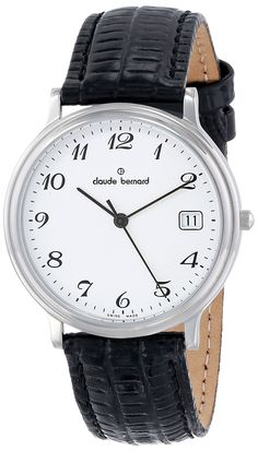 Claude Bernard Men's 70149 3 BB Classic Gents White Dial Black Leather Watch. White dial with striking black numbers. Second-hand feature with minute track. Date window. Black leather strap. Water resistant to 99 feet (30 M): withstands rain and splashes of water, but not showering or submersion.