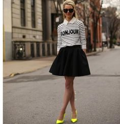 pop of yellow with black and white