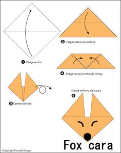 Origami Easy Foxes To Draw - Bunny origami for kids. Here is a list of easy origami that anyone can have fun making. Origami Fox Face Easy Origami For Kids Origami Instructions To. Origami Ball, Instruções Origami, Origami Star Box, Origami Fish, Useful Origami, Origami Design, Origami Folding, Origami Duck, Bunny Origami