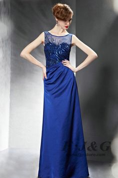 Blue Sleeveless Pleated Sequin Prom Dress 82082