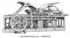 Old printing press / vintage illustration from Meyers Konversations-Lexikon 1897 by Hein Nouwens, via ShutterStock