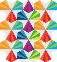 (7) Name: 'Quilting : Hexie Tiles Foundation Paper Piecing