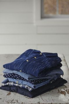 clubmonaco:Layer up. Our shirts are dyed with natural indigo for a look that will only get better with time.