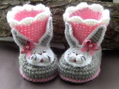 Handmade knitted baby shoes baby booties rabbits by ManCrochets