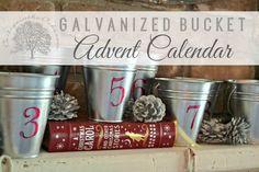 DIY Galvanized Bucket Advent Calendar or 12 Days of Christmas Countdown