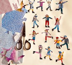 Snipping some little peeps for a new image. Thank you to for sending me some perfect patterned envelope insides they cane in extremely handy. Collages, Collage Art, People Illustration, Children's Book Illustration, Paper Art, Paper Crafts, Cut Paper, Funky Art, Winter Art