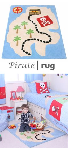 This treasure map rug would coordinate perfectly with any boy's pirate themed bedroom.