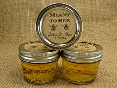 Mason Jar Wedding Favors - Wedding Honey Favors - Personalized - 20 Four Ounce Quilted Mason Jars - Meant To Bee Design on Etsy, $45.00