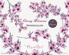 PURPLE WATERCOLOR FLOWER Clipart Commercial Use by ClipArtBrat