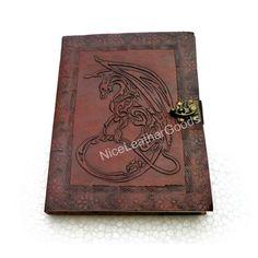 Leather Journal Leather Diary Sketchbook - Celtic Dragon, Brass C Lock | NiceLeatherGoods - Paper/Books on ArtFire
