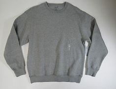 Roundtree & Yorke Sport Mens Light Grey Crew Neck ProLuxe Fleece Sweater Large