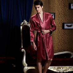 Couple spring and autumn silk pajamas and fertilizer increased male and female silk silk two-piece straps Nightgown robe clothing