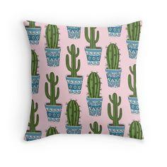 Cactus Pattern (Pink) Throw Pillow by Sarah Oelerich