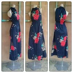 Vintage 1970s Dress Tropical Hawaiian Floral Maxi Cover Up US8 B35 2015317 - pinned by pin4etsy.com