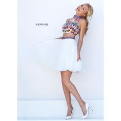 Sherri Hill 50140 Black Multi Color Two Piece Party Dress