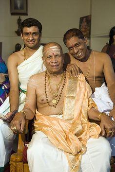 Sri K. Pattabhi Jois, father of Mysore-style Ashtanga yoga, with Sharath and Manju Jois.