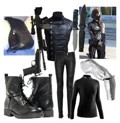 """Female Winter Soldier (Cosplay)"" by laurenwolfchild ❤ liked on Polyvore featuring Paolo Shoes, Disney, Balmain, Under Armour and RIFLE"
