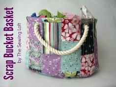 Cool Crafts You Can Make With Fabric Scraps - Stackable Scrap Bucket Bag - Creative DIY Sewing Projects and Things to Do With Leftover Fabric Scrap Crafts Bag Patterns To Sew, Sewing Patterns Free, Free Sewing, Free Pattern, Wallet Pattern, Pattern Sewing, Pattern Fabric, Sewing Hacks, Sewing Tutorials