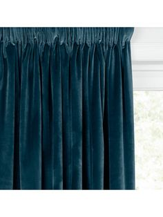 John Lewis & Partners Lustre Velvet Pair Lined Multiway Curtains, Teal - Curtains Blue Velvet Curtains, Teal Curtains, Types Of Curtains, Pleated Curtains, How To Make Curtains, Curtains With Blinds, Panel Curtains
