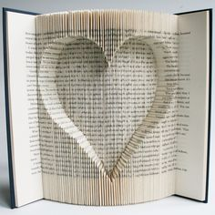 Inverted Heart Book Folding Pattern with cuts: + Free printable downloads (pdf) to personalise your book art and full step by step tutorial by LoveBookFolding on Etsy