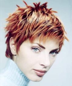 2005 fall hair style womens, Layered and Spiky, red
