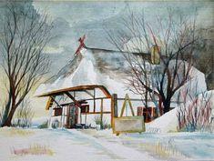 Das Dornenhaus im Winter © ein Aquarell aus Ahrenshoop von Frank Koebsch